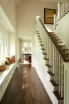 Newel Post Designs Staircase Transitional with Dark Wood Beach Style Chandeliers