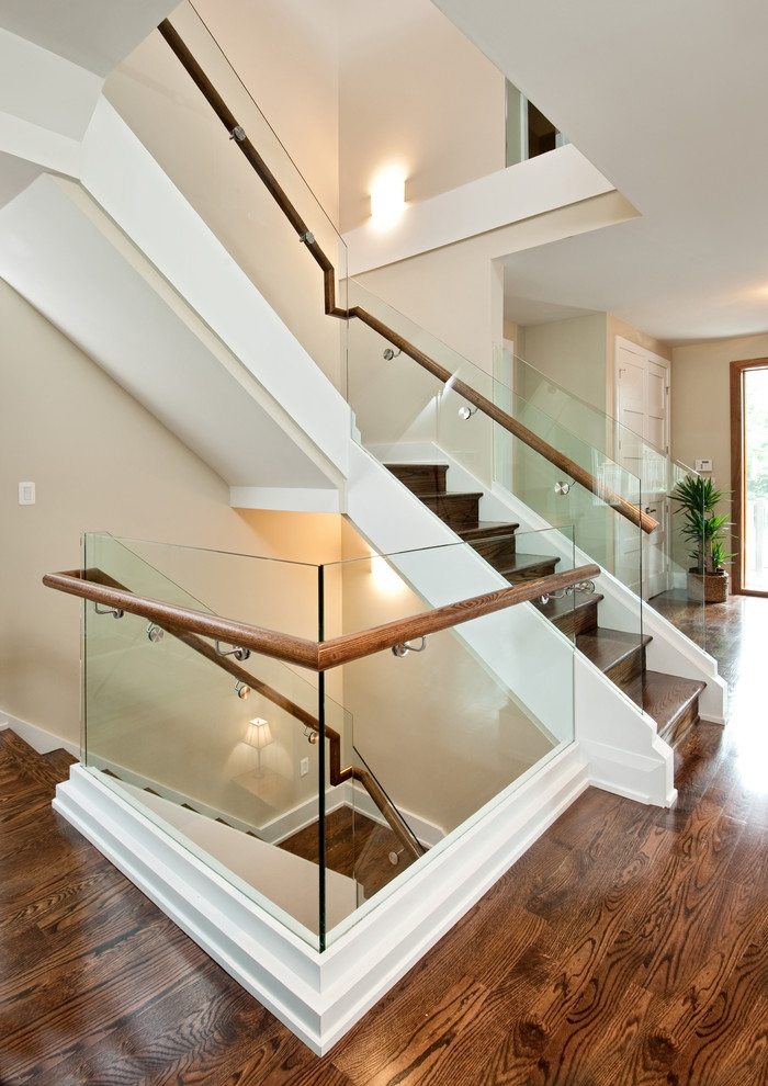 Wood Stair Treads Staircase Contemporary With Hallway Engineered   Engineered Wood Stair Treads   Hickory   Platform   Finished   Engineered Hardwood   Luxury Vinyl