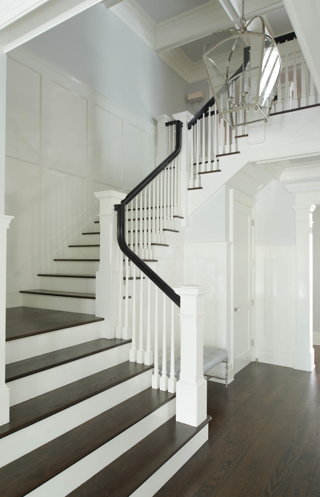 Wood Stair Treads Staircase Victorian With Stairs White Risers New | Oak Stairs With White Risers | Natural | Red Oak | Character | Hardwood | Dark Walnut Staircase