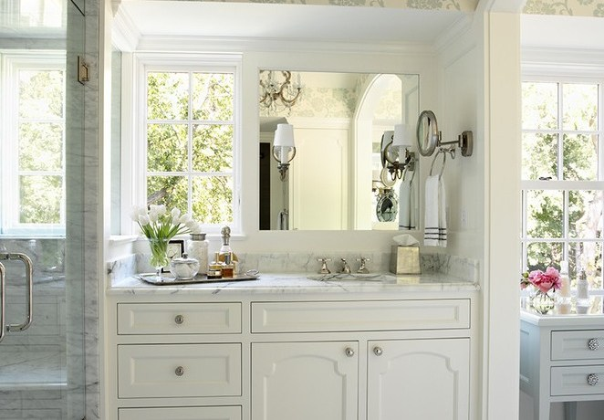 48 bathroom vanity transitional with vintage mirrors contemporary vases