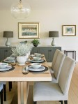 Banquette Dining Set with Maharam Patterned Bench Mismatched Chairs Dark Wood Cabinets