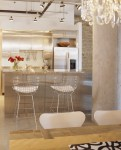 Clear Counter Stools with Floating Shelves Gray Leather Tongue and Groove Ceiling Stainless Steel Appliances