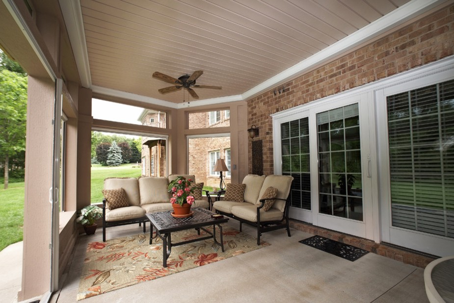 Enclosed Patio Ideas Mediterranean with Covered Ceiling ... on Enclosed Back Deck Ideas id=48965