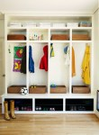 Entryway Shoe Storage with Cubby Hole Harlequin Floor Black Ceiling Light