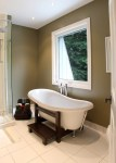 Free Standing Soaking Bathroom Traditional with Neutral Colors inside Mount Roller Blinds