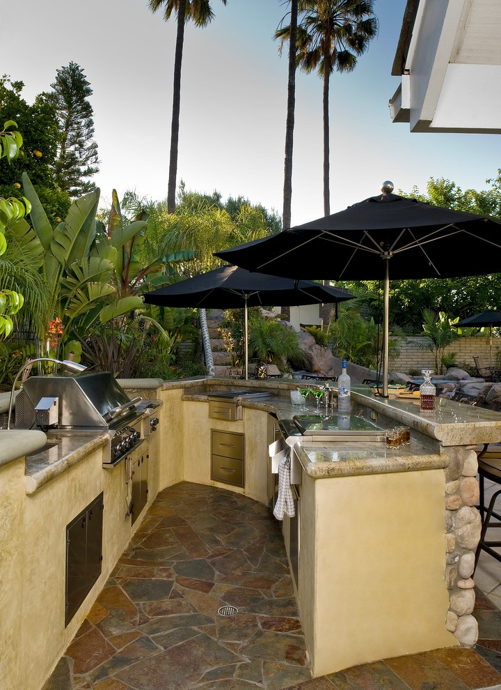 Houzz Outdoor Kitchens Deck Transitional with Pool Beige ... on Houzz Backyard Patios  id=78069