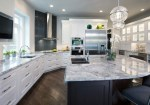 Leathered Granite Countertops with Grey Wall Undermount Sink Ceiling Lighting