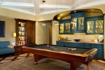 Pool Table Lights Family Room Traditional with Dark Wood Floor Polyester Fill Sofas