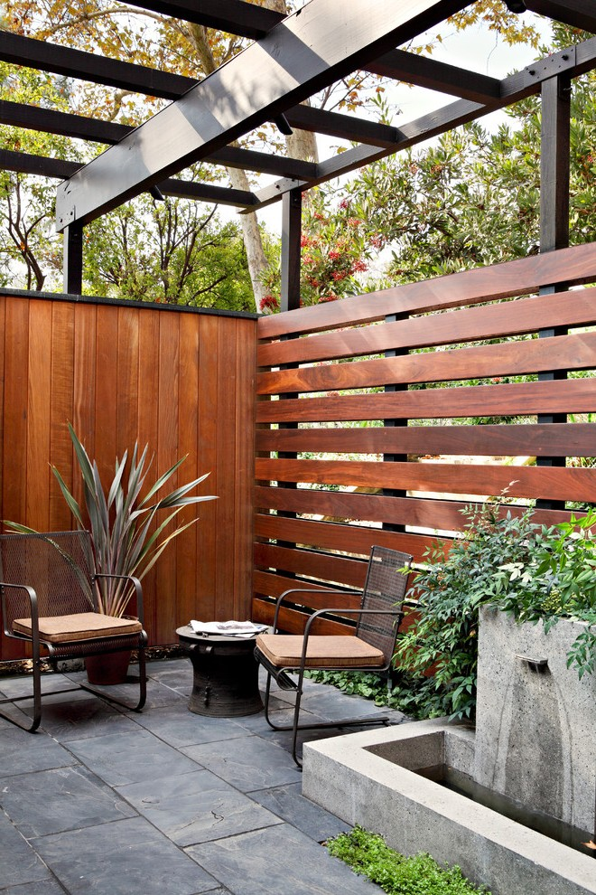 Privacy Fencing Ideas Patio Traditional with Wooden Fence ... on Garden Patio Wall Ideas id=96579