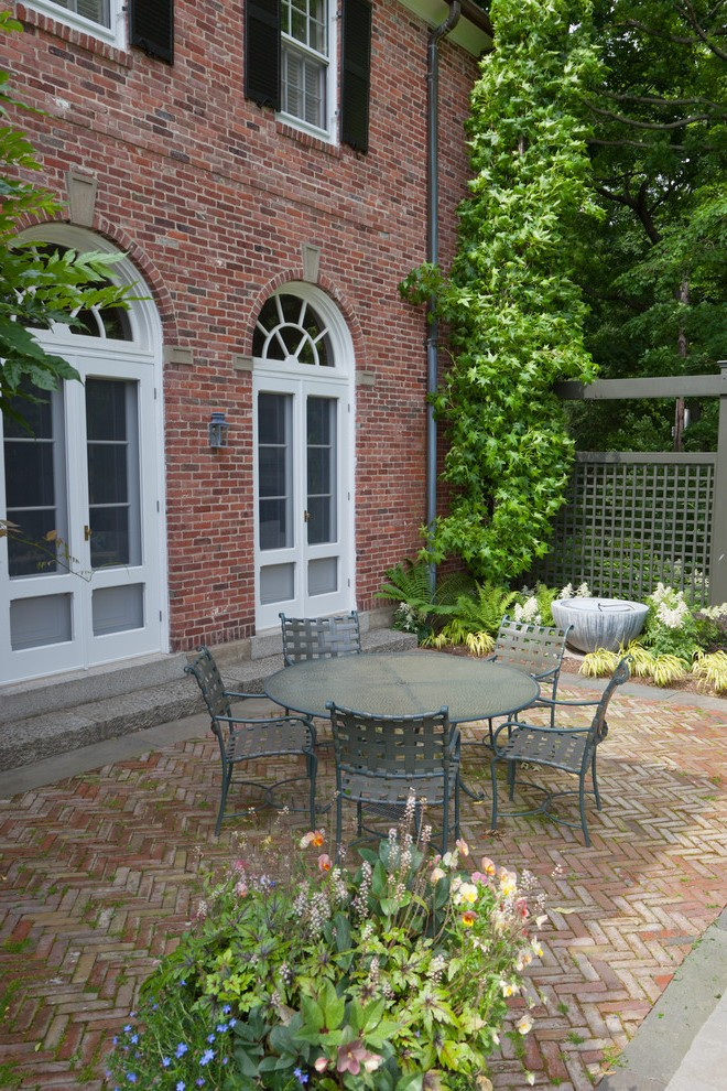 red brick patio traditional with