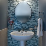 round mosaic mirror bathroom contemporary with vanity ceramic vessel sinks