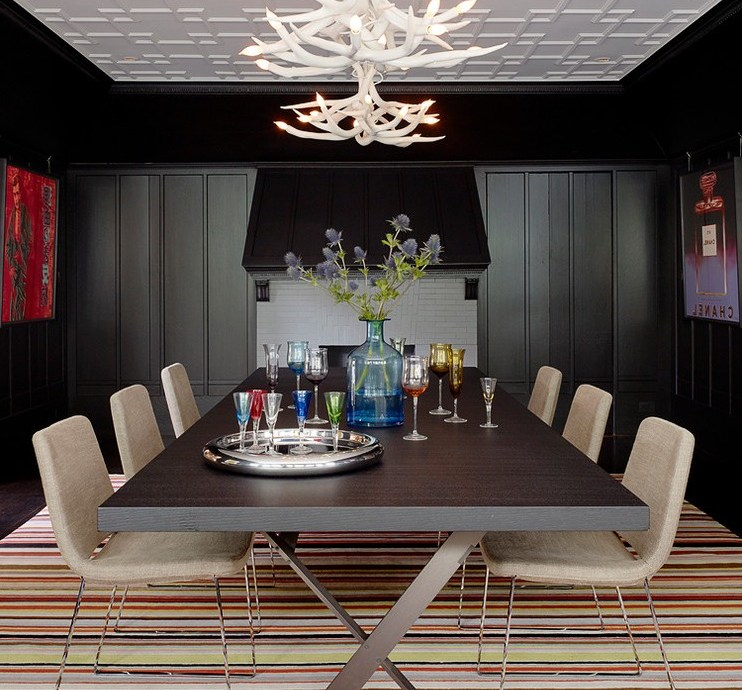 san francisco modern black dresser with transitional bar stools and counter dining room paneling white coffered ceiling