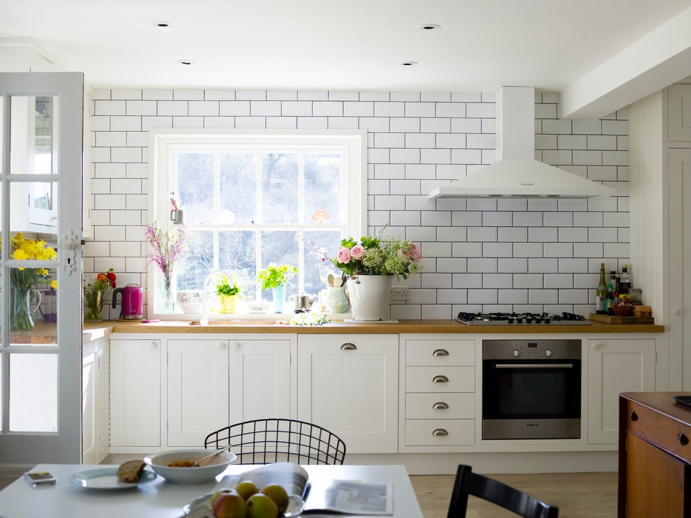 Good Looking Glossy White Subway Tile With Wainscoting