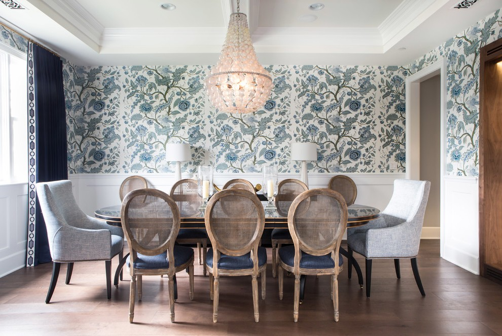 Los Angeles Cane Back Dining Room Chairs Traditional With White Wainscoting Ceramic Table Lamps