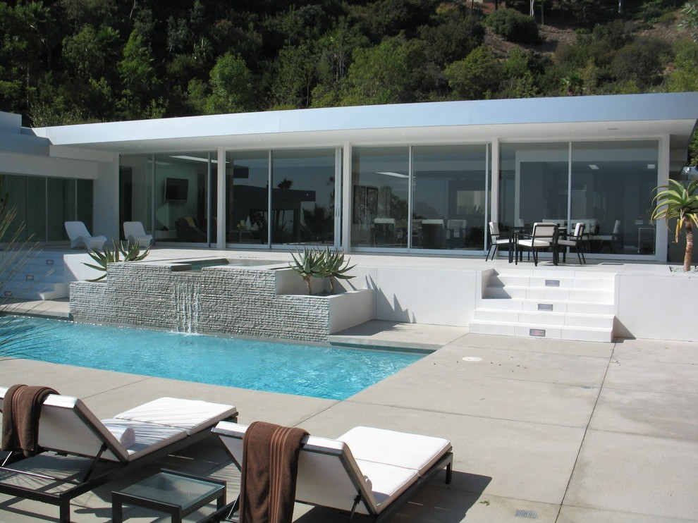 Los Angeles Modern Pool Designs With Waterfall Outdoor