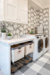 Fabulous Hidden Laundry Hamper with White Countertop Floral Wallpaper