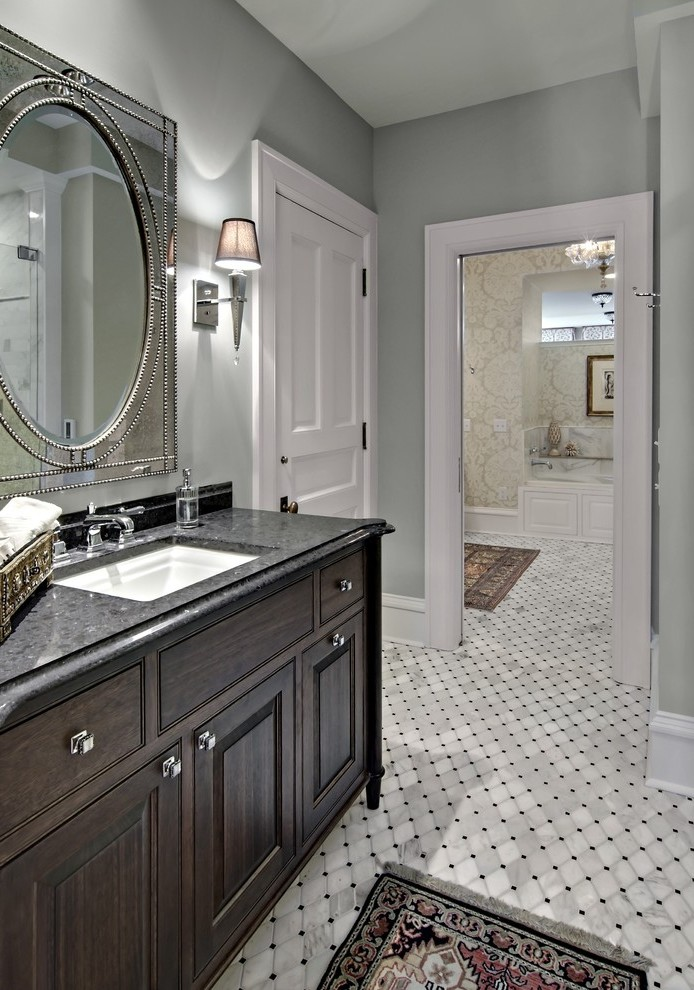 Minneapolis White Bathroom Floor Tiles Traditional With