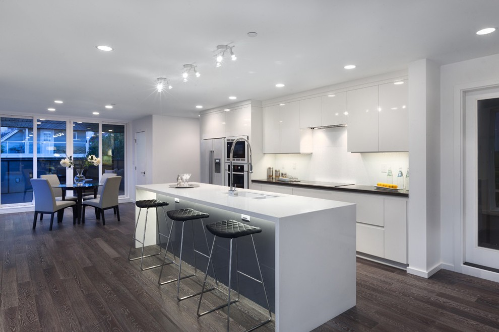 vancouver acrylic waterfall with marble mosaic tiles kitchen modern and dark wood floor