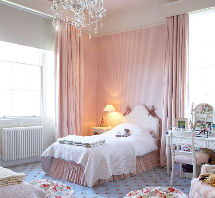 west midlands girl room curtains with hardwood flooring professionals kids shabby-chic style and floral carpet pink wallpaper
