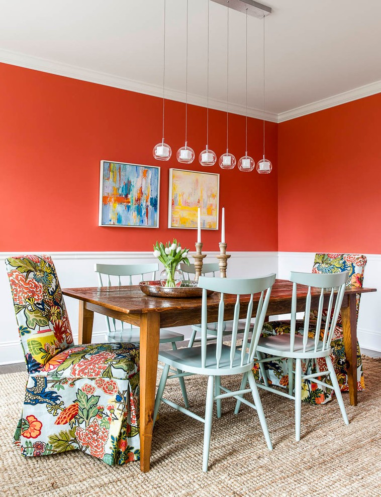 boston farm dining room with contemporary chandeliers transitional and mid century decor home