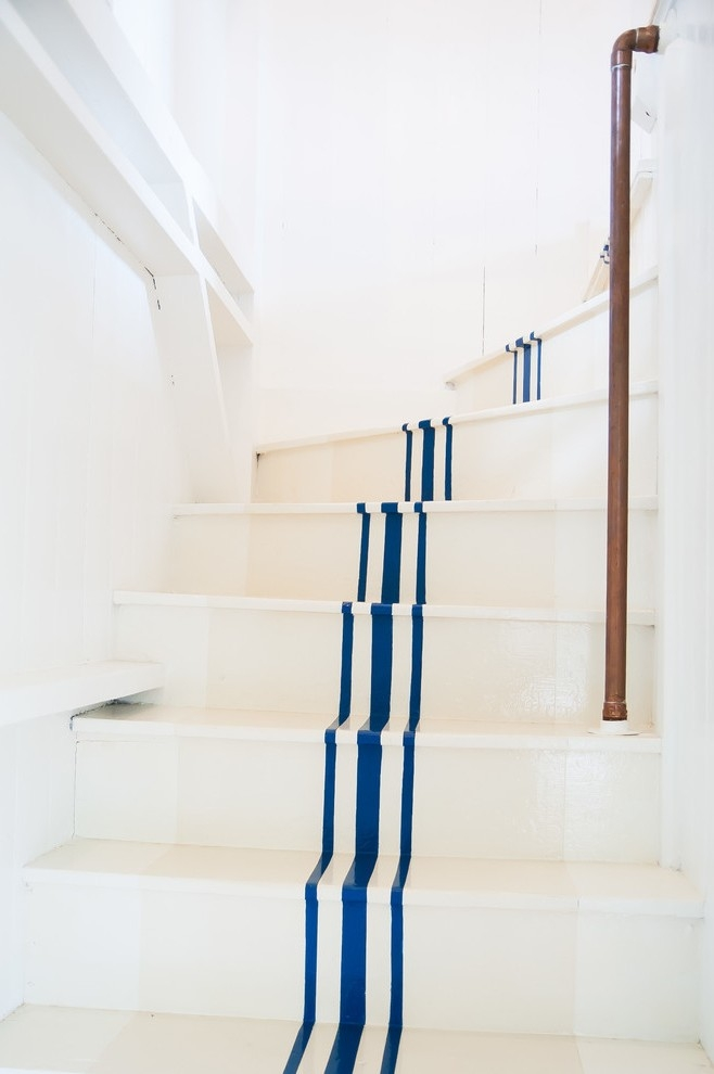 Navy Blue Striped Bedding Staircase Beach Style With White Stairs | Navy Carpet On Stairs | Wooden | Loop Pile | Wall To Wall Carpet | Dark Blue | Geometric