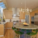 seattle round glass tile backsplash with contemporary saut pans kitchen and white countertop drawer pulls