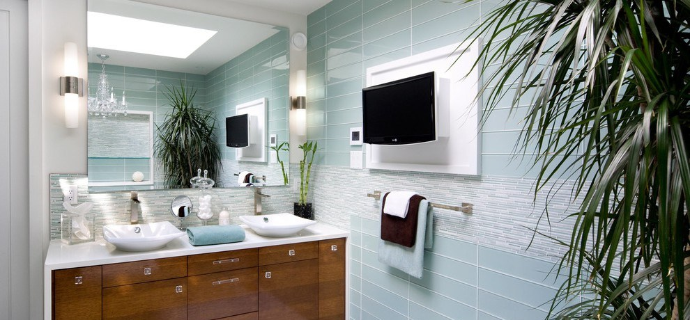 toronto mirage glass tile with lever handles bathroom contemporary and waterfall counter plasma tv