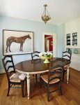 Amazing Blue Accent Wall Dining Room Traditional with Ladderback Chair Table Seats Fourteen