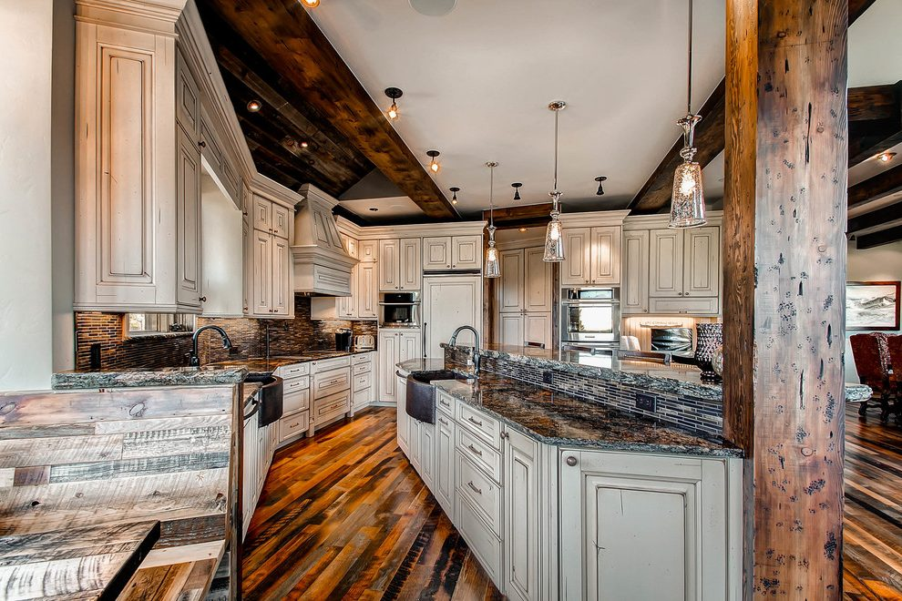 denver wood paneling remodel kitchen rustic with brown ... on Kitchen Backsplash With Maple Cabinets  id=95948