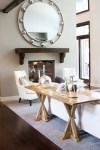 Delightful Mirror Over Fireplace Living Room Transitional with Light Wood Console Table Two Tone Paint Ideas15