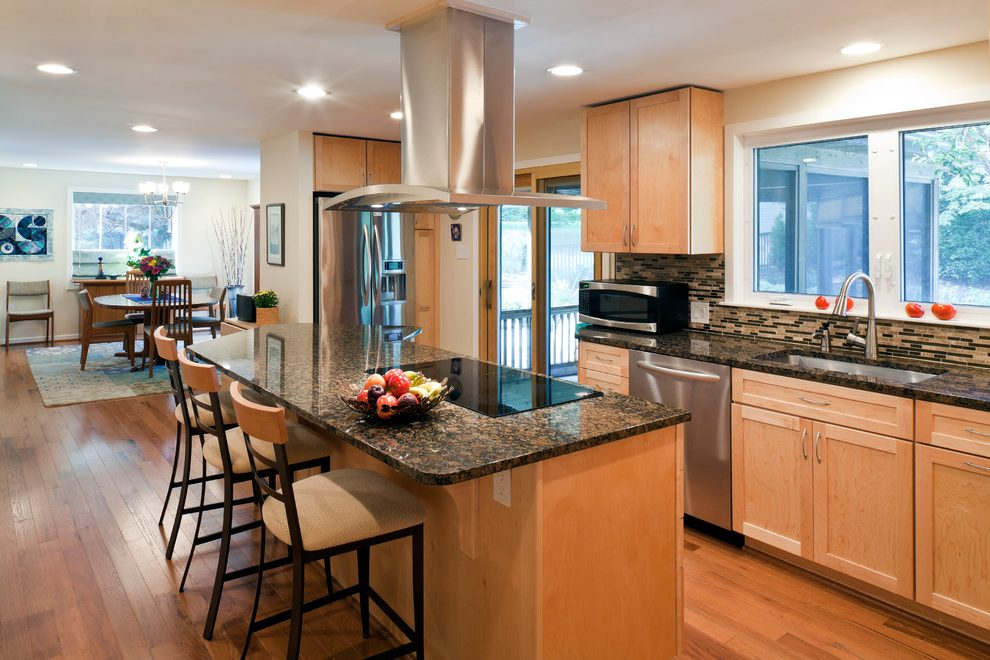 baltimore kitchen with maple cabinets contemporary ... on Modern Kitchen Backsplash With Maple Cabinets  id=93879