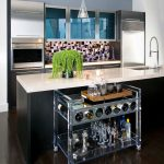 dallas lucite magazine holder with gray bar carts kitchen contemporary and tile backsplash dark floors