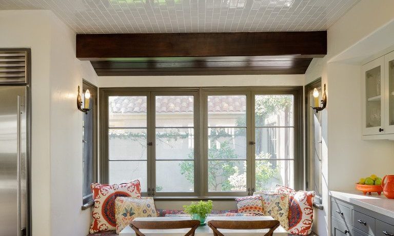 los angeles kitchen banquette seating with wooden standard height dining sets mediterranean and bay window nook