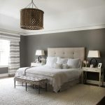 new york gray tufted headboard with contemporary wall clocks bedroom transitional and high ceilings white curtains