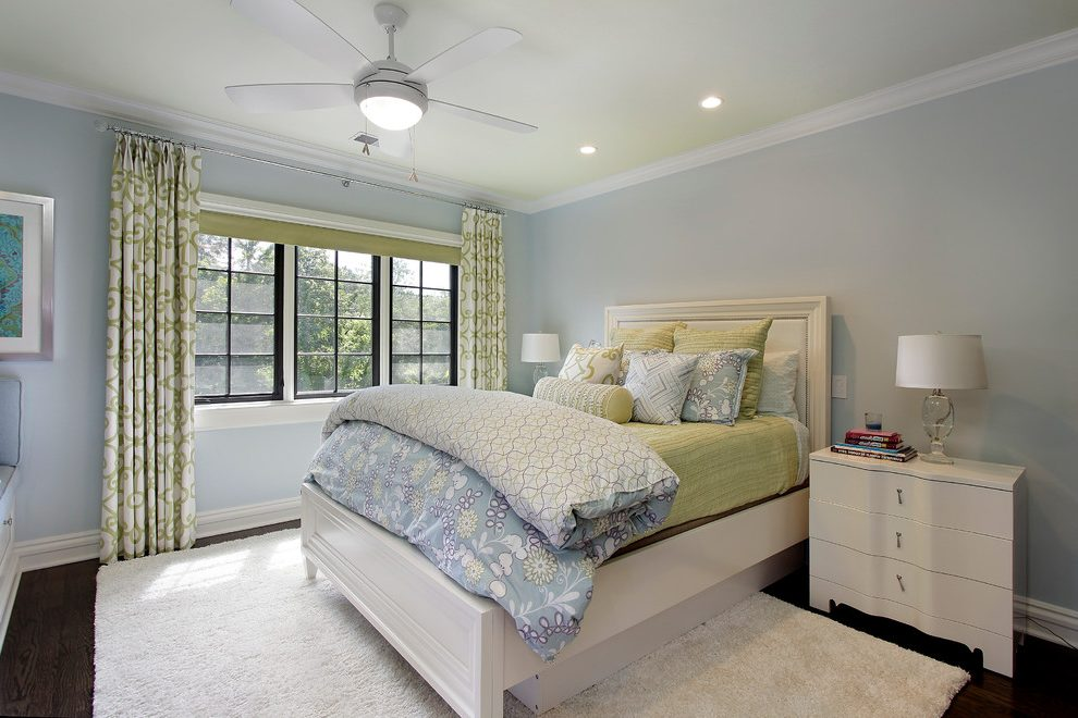 chicago seafoam green bedroom with square decorative pillows traditional and blue walls curtains