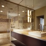 Chicago dry sink vanity Bathroom Contemporary with stone and countertop manufacturers showrooms light tile floor