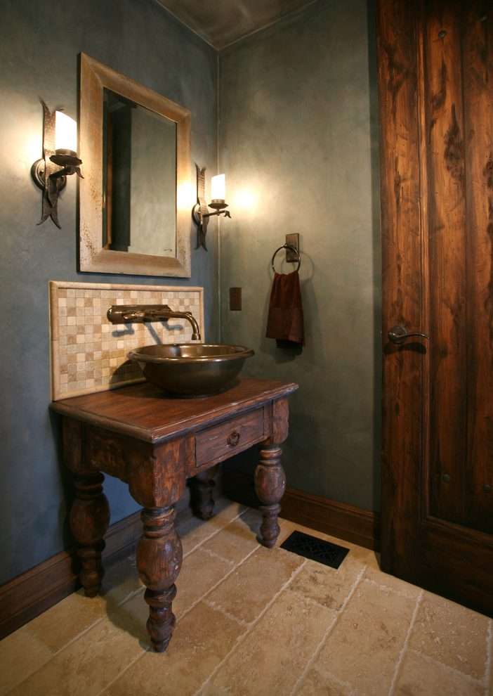 Other dry sink vanity Bathroom Mediterranean with dresser turned into
