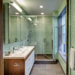 Other bathroom glass tile Bathroom Midcentury with white subway shower