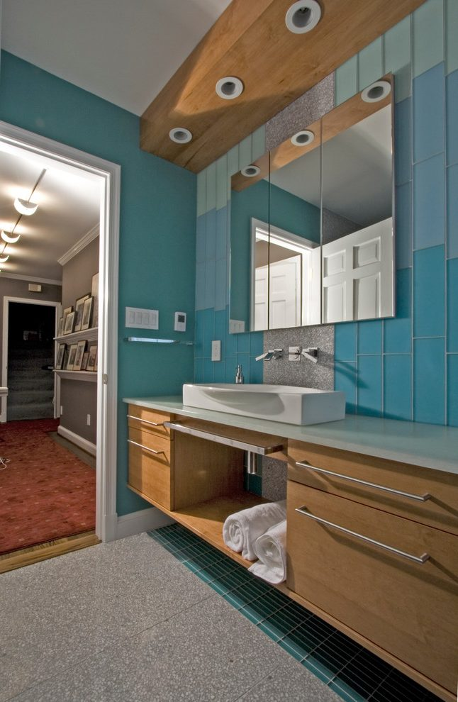 DC Metro wood and tile floor Contemporary Bathroom with ...