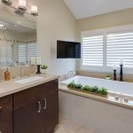 Fabulous heart shaped wall mirror CA Transitional in Bathroom with ceiling lighting and range hood