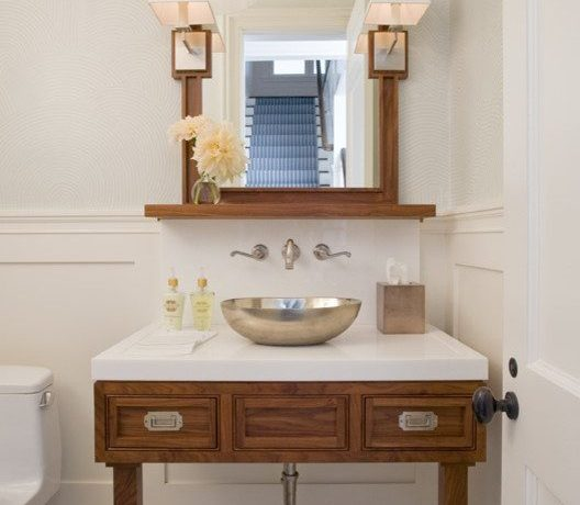 Imaginative emily gilbert photography Beach Style Bathroom in New York with chair cushions and china cabinet