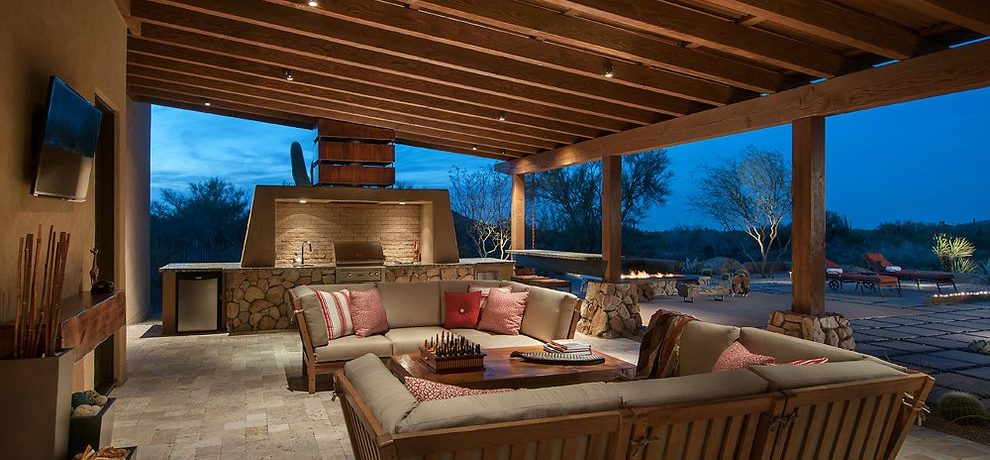 Terrific rustic outdoor lighting Southwestern Patio in Phoenix with seating and