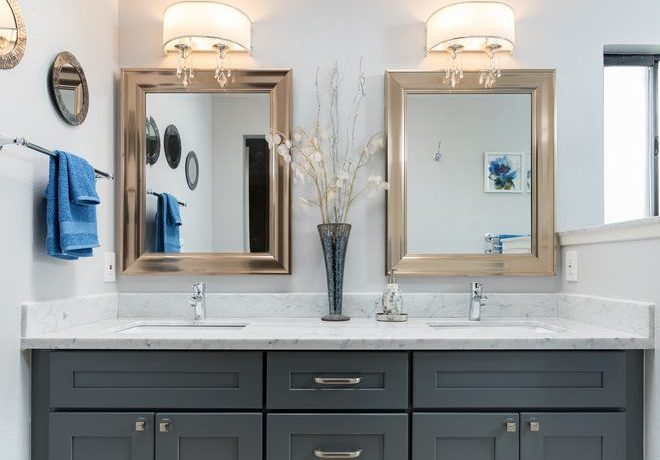Good-Looking gold bathroom mirrors in with Frameless barn sliding shower door and beige tile flooring