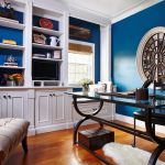 Lovely home office desks ikea Transitional Home Office in DC Metro with crown moulding and blue walls