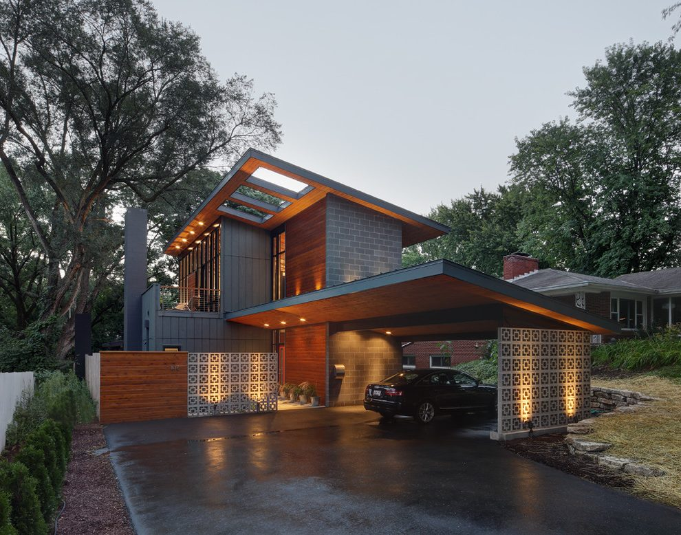 Magnificent Sherwin Williams Spalding Gray Contemporary ... on Modern House Siding Ideas  id=13066