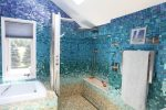 Delightful Blue Glass Tiles Bathroom Tropical Bathroom interesting Ideas with Tub Surround and Tile Design