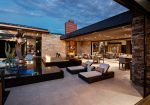 Extraordinary Solar Patio Cover Contemporary Patio interior Designs with Metal Roof and Desert Landscape
