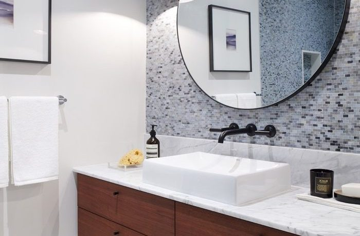 Sparkling white oval bathroom mirror BATHROOM in with contemporary and black framed