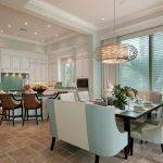 Wonderful blue and green design Transitional Kitchen in Miami with tile backsplash beige booth