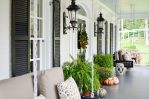 Good-Looking Gray Garden Stool Image Ideas with Transom Windows and Black Door